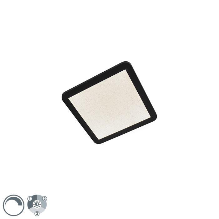 Plafondlamp-zwart-27,6-cm-incl.-LED-3-staps-dimbaar-IP44---Steve