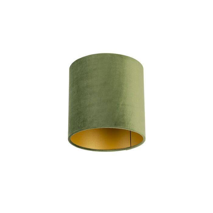 Velours-lampenkap-groen-20/20/20-met-gouden-binnenkant