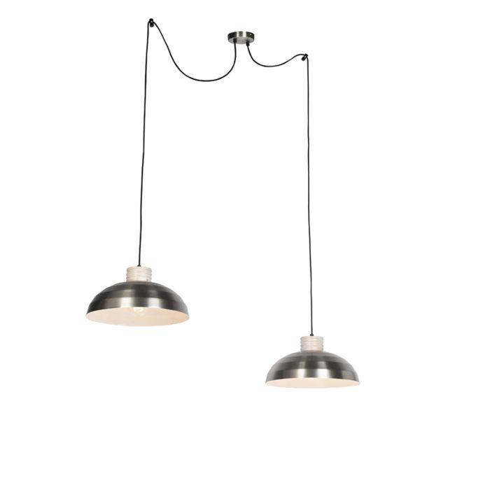 Landelijke-hanglamp-staal-met-hout-2-lichts-aan-touw---Albus