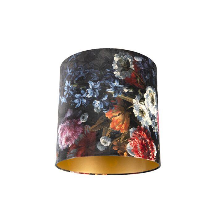 Velours-lampenkap-bloemen-dessin-40/40/40-gouden-binnenkant