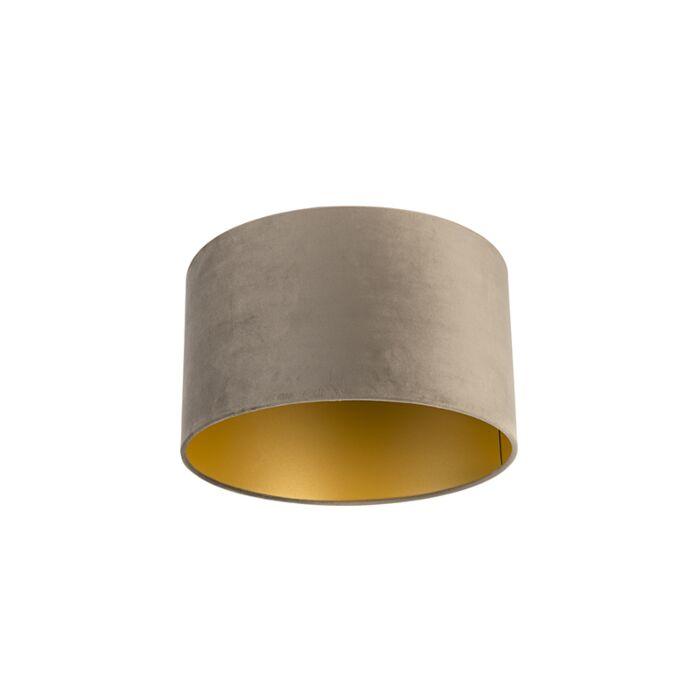 Velours-lampenkap-taupe-35/35/20-met-gouden-binnenkant