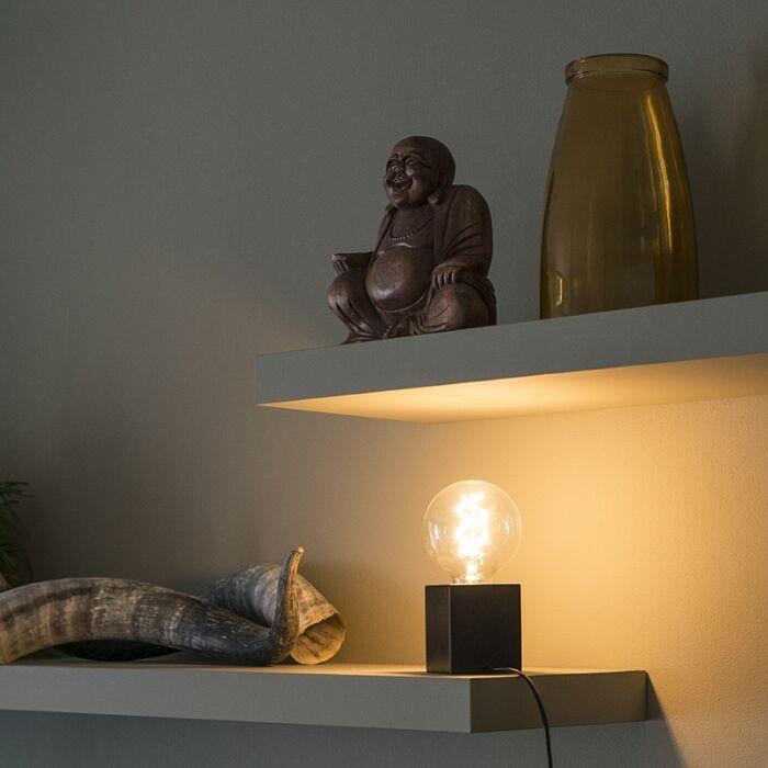 Industriele-vierkante-tafellamp-zwart-hout---Bloc