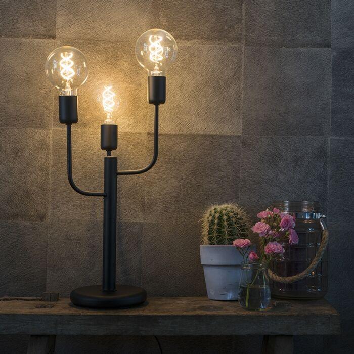 Art-Deco-tafellamp-zwart-3-lichts---Facile