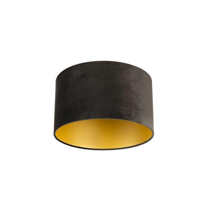 Velours-lampenkap-zwart-35/35/20-met-gouden-binnenkant