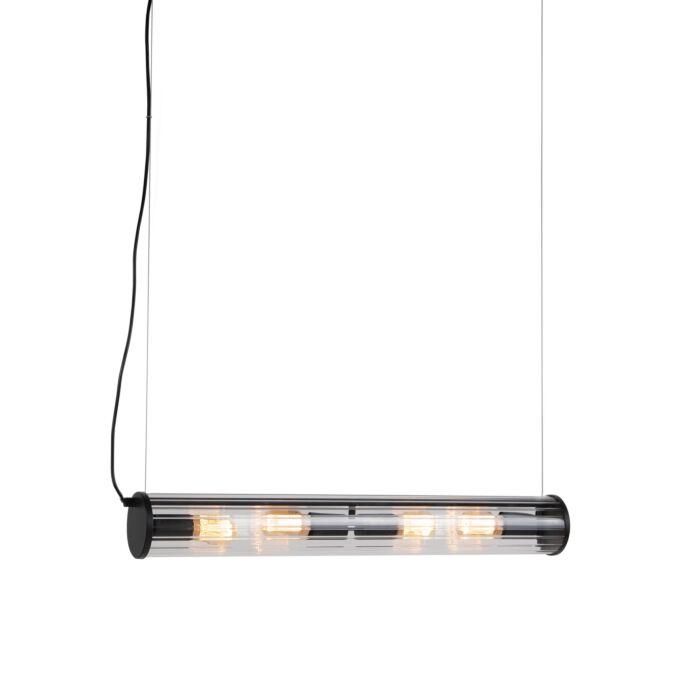 Hanglamp-zwart-4-lichts-met-geribbeld-glas---Costilla