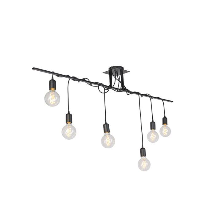 Moderne-hanglamp-zwart-6-lichts-gedraaide-kabels---Facile