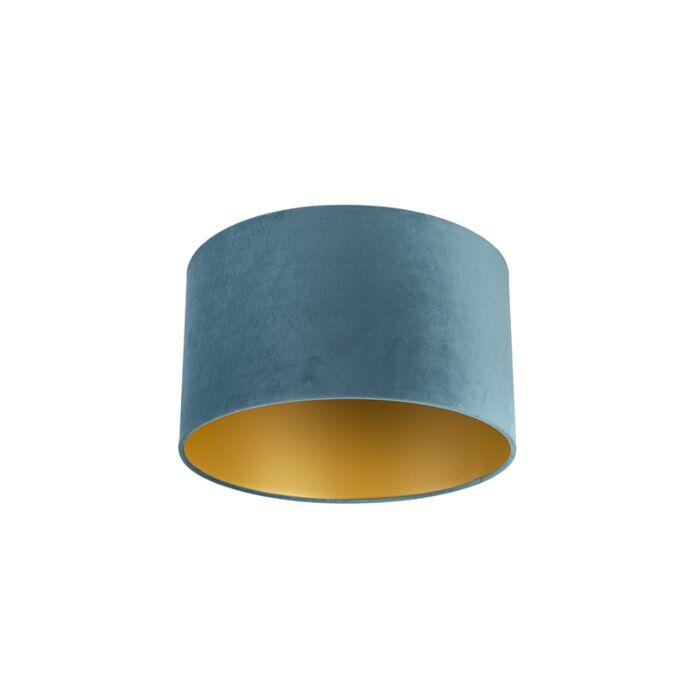Velours-lampenkap-blauw-35/35/20-met-gouden-binnenkant