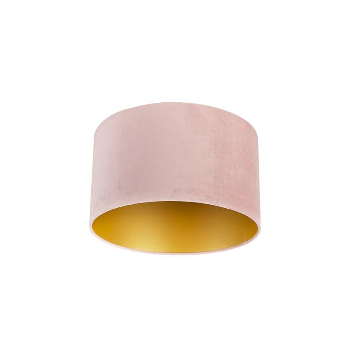 Velours-lampenkap-roze-35/35/20-met-gouden-binnenkant
