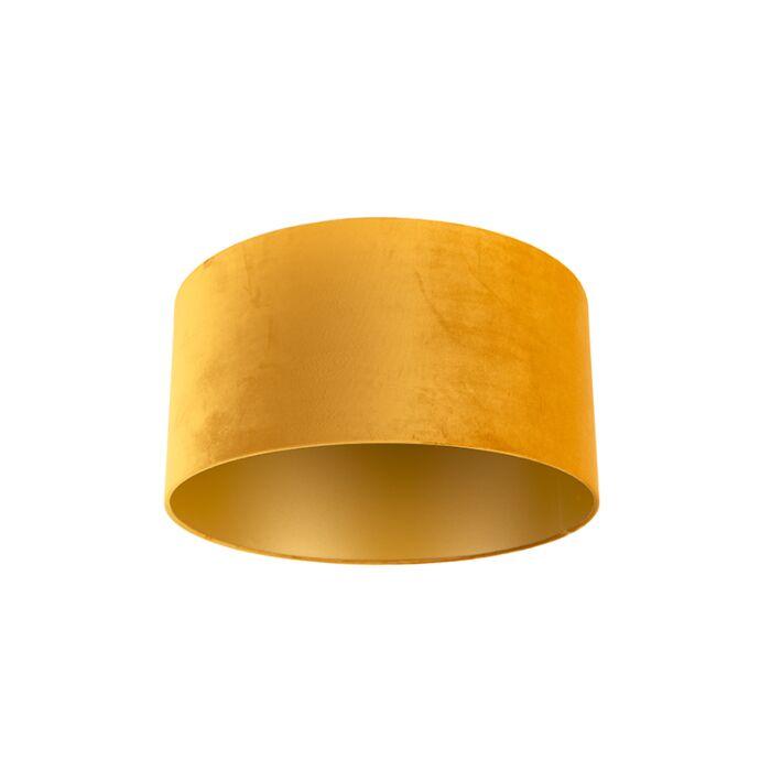 Velours-lampenkap-geel-50/50/25-met-gouden-binnenkant