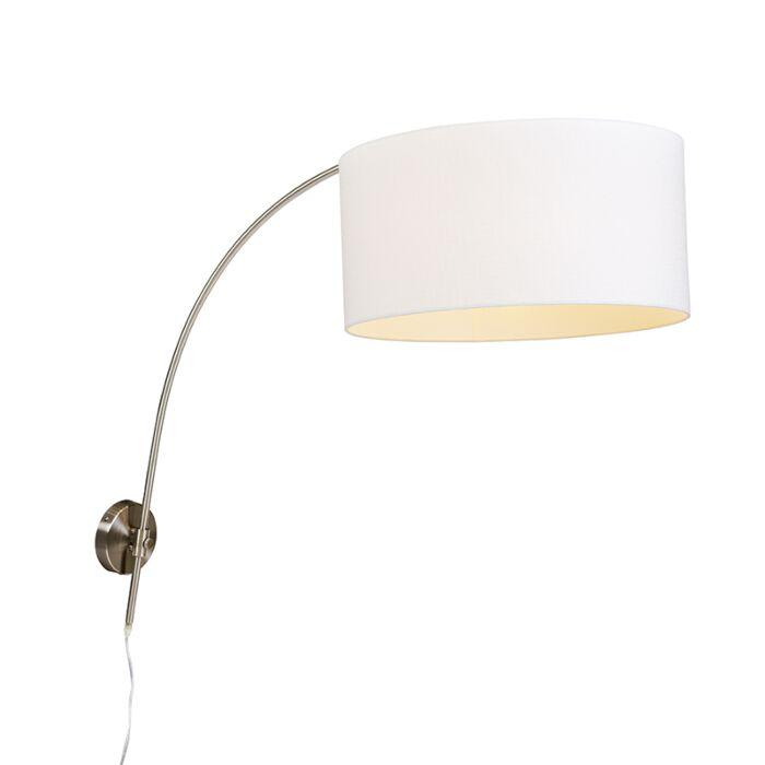 Modernde-wandbooglamp-staal-met-witte-kap-50/50/25-verstelbaar