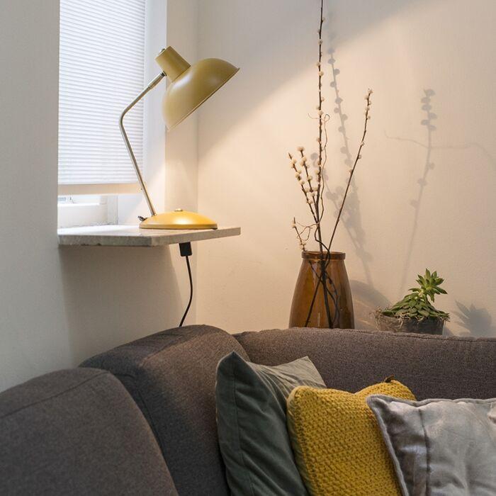 Retro-tafellamp-geel-met-brons---Milou