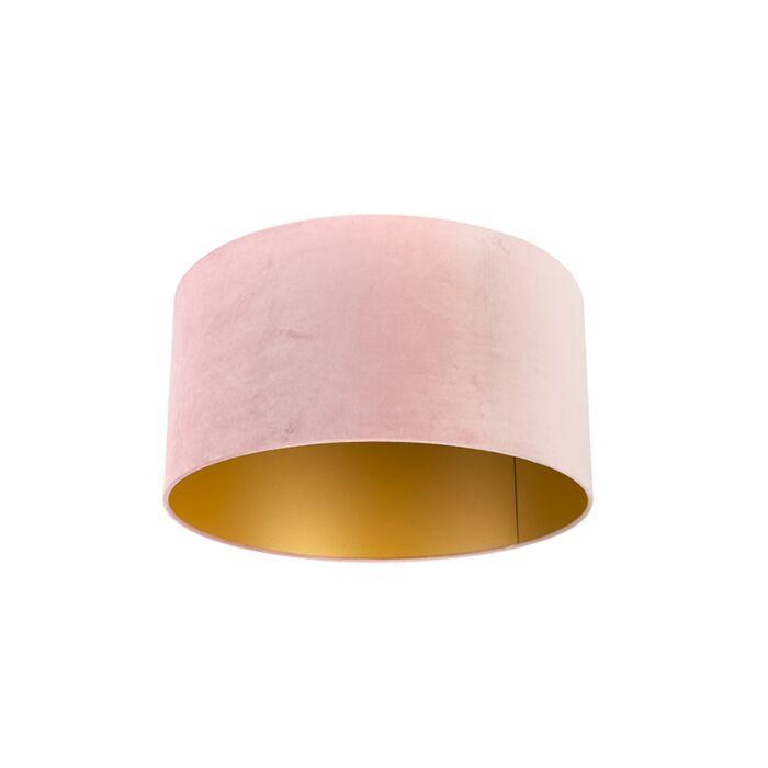 Velours-lampenkap-roze-50/50/25-met-gouden-binnenkant