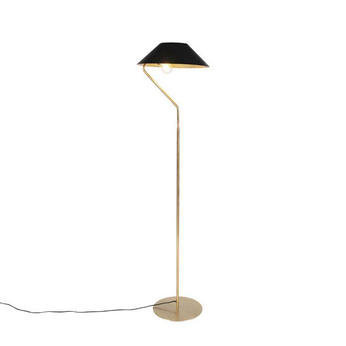 Art-deco-vloerlamp-goud-met-zwarte-kap---Knick