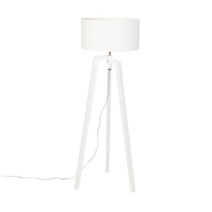 Vloerlamp-tripod-wit-hout-met-witte-kap-50-cm---Puros