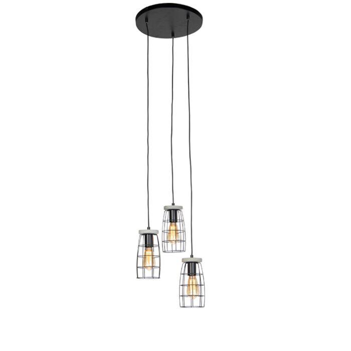 Industriele-hanglamp-betonlook-zwart-3-lichts---Rohan