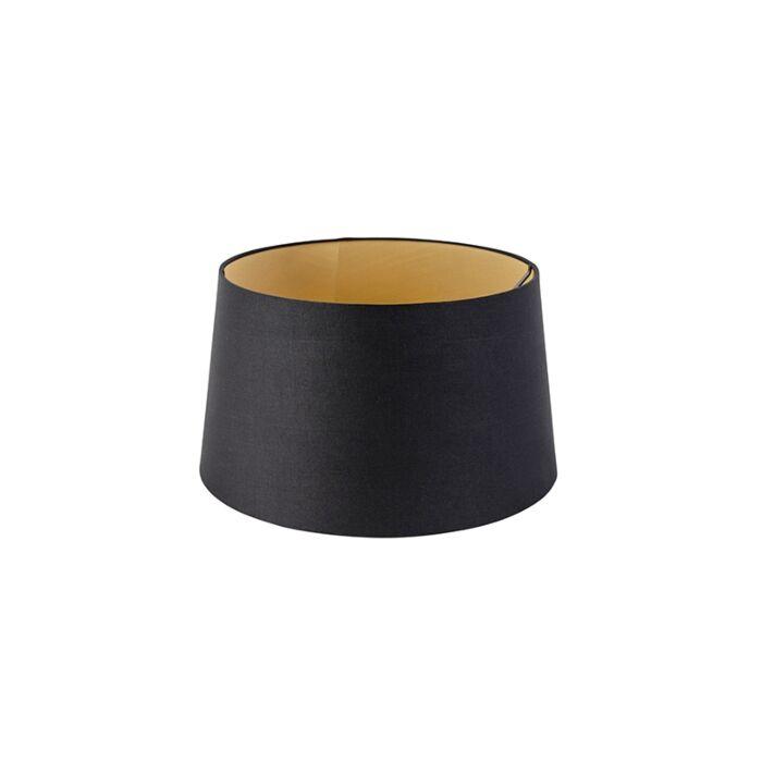 Katoenen-lampenkap-zwart-35/30/20-met-gouden-binnenkant