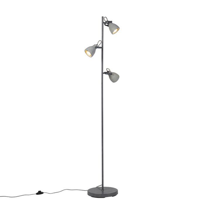 Industriële-vloerlamp-grijs-beton-3-lichts---Creto