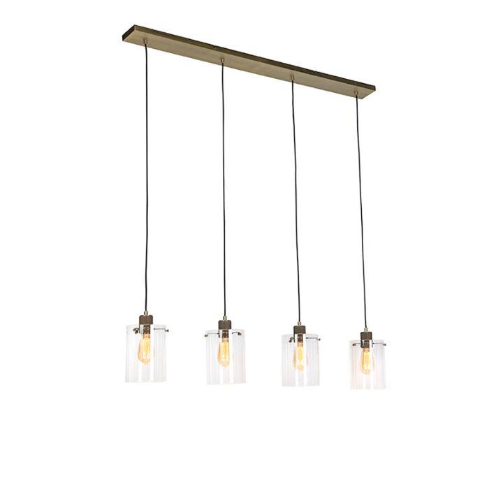Scandinavische-hanglamp-brons-met-glas-4-lichts---Dome