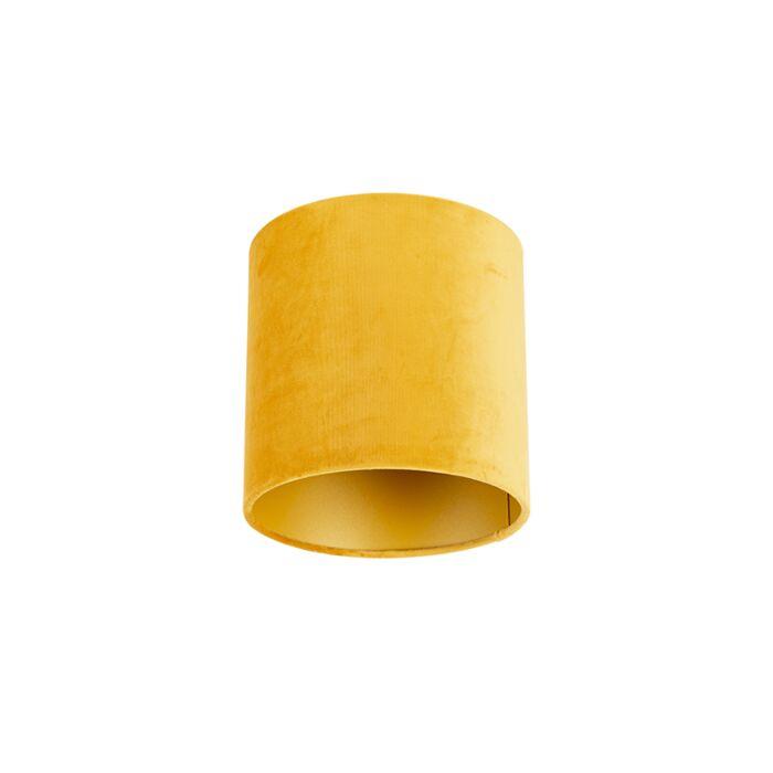 Velours-lampenkap-geel-20/20/20-met-gouden-binnenkant