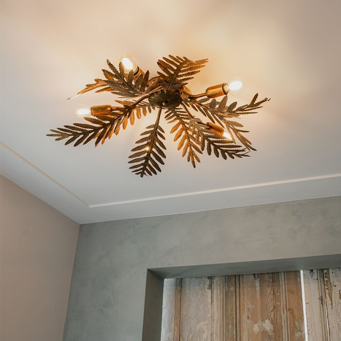 Vintage-plafondlamp-5-lichts-goud---Botanica