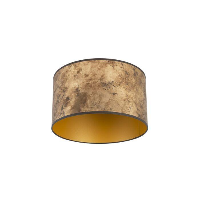 Lampenkap-brons-35/35/20-met-gouden-binnenkant