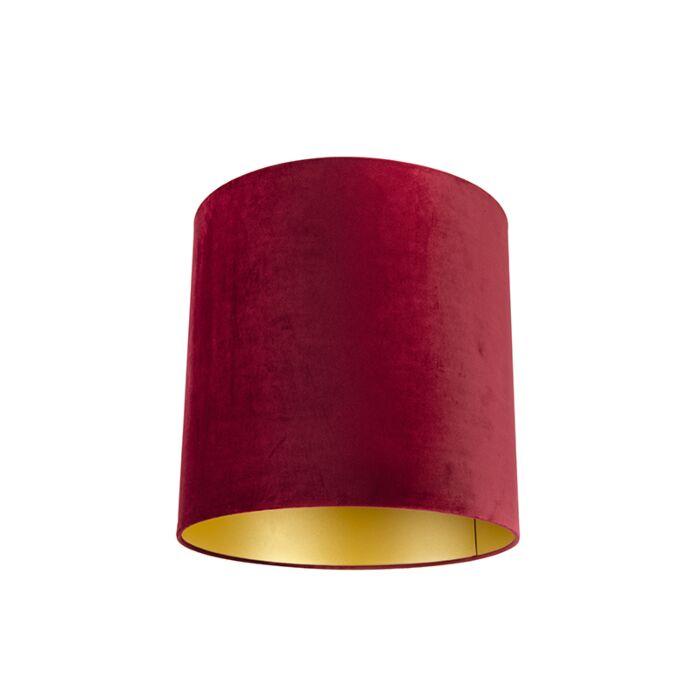 Velours-lampenkap-rood-40/40/40-met-gouden-binnenkant