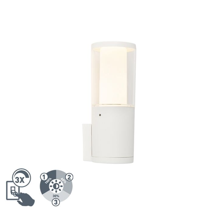 Moderne-buitenwandlamp-wit-IP55-incl.-GU10-3-staps-dimbaar---Carlo