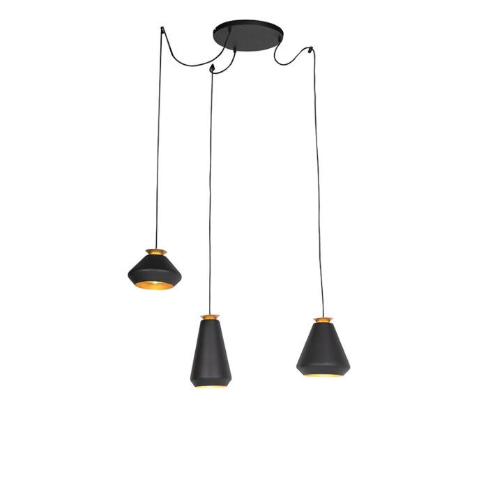 Moderne-hanglamp-3-lichts-zwart-met-goud---Mia
