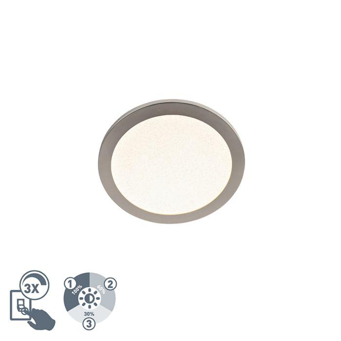 Plafondlamp-staal-30-cm-incl.-LED-3-staps-dimbaar-IP44---Steve