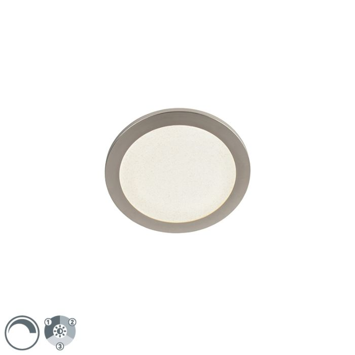 Plafondlamp-staal-26-cm-incl.-LEd-3-staps-dimbaar-IP44---Steve