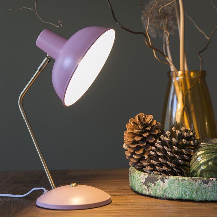 Retro-tafellamp-roze-met-brons---Milou