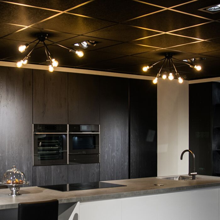 Moderne-plafondlamp-zwart-6-lichts---Sputnik