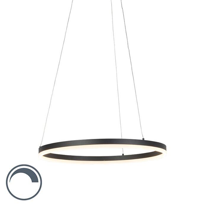 Moderne-ring-hanglamp-zwart-60-cm-incl.-LED-en-dimmer---Anello