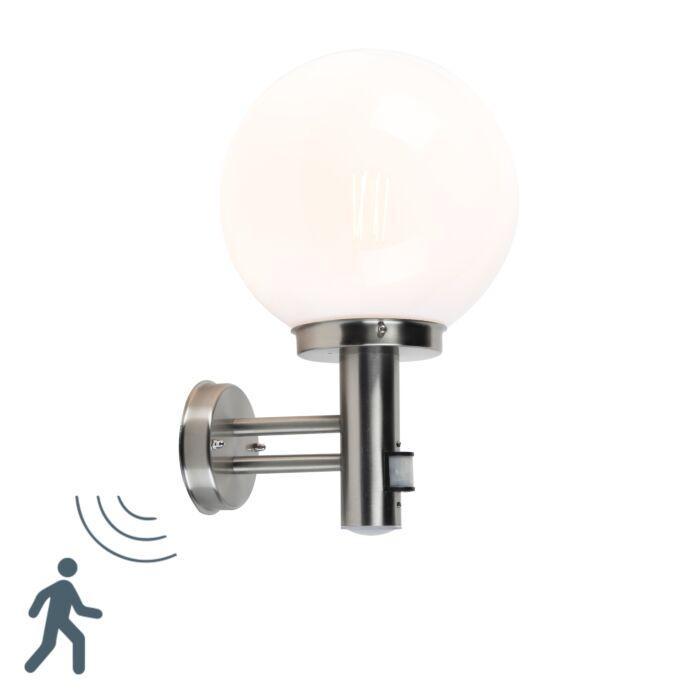 Buitenwandlamp-staal-RVS-IP44-met-bewegingsmelder---Sfera