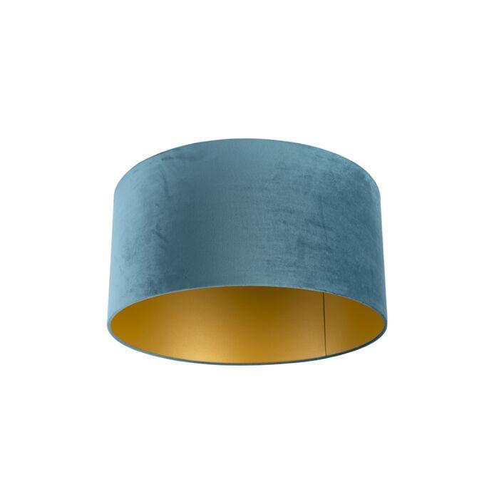 Velours-lampenkap-blauw-50/50/25-met-gouden-binnenkant
