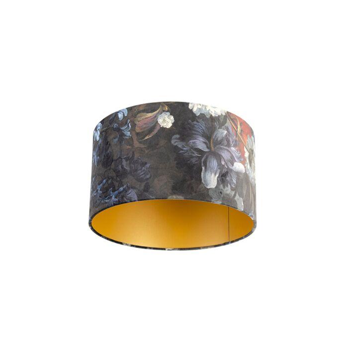 Velours-lampenkap-bloemen-dessin-35/35/20-gouden-binnenkant