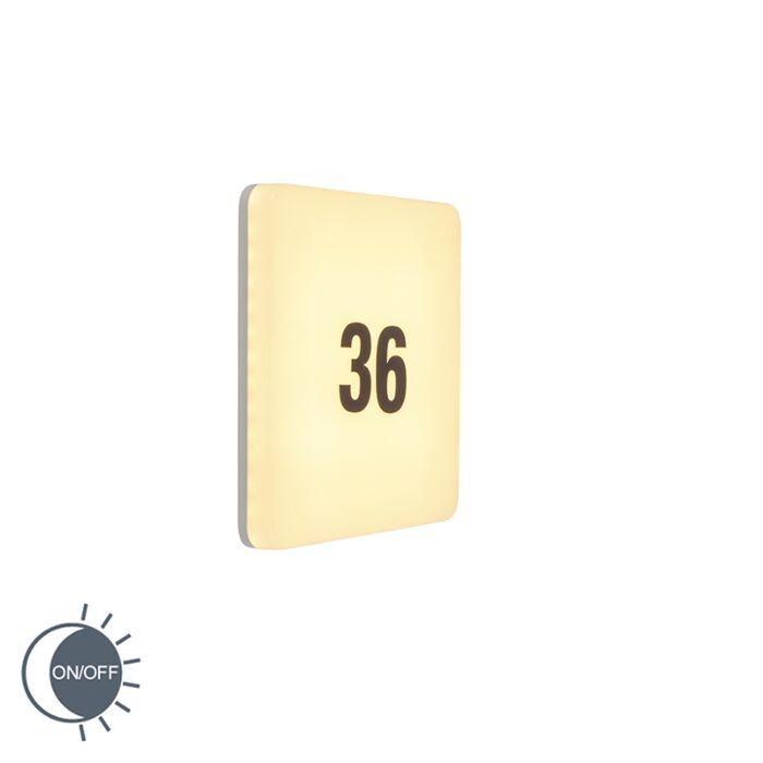 Wandlamp-wit-vierkant-incl.-LED,-licht-sensor,-huisnummer---Plater
