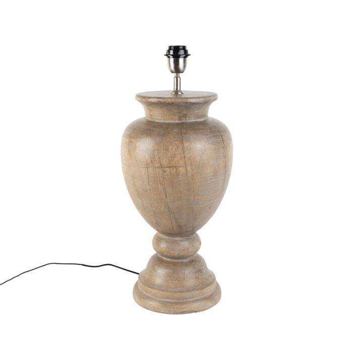 Landelijke-tafellamp-hout-zonder-kap---Clover