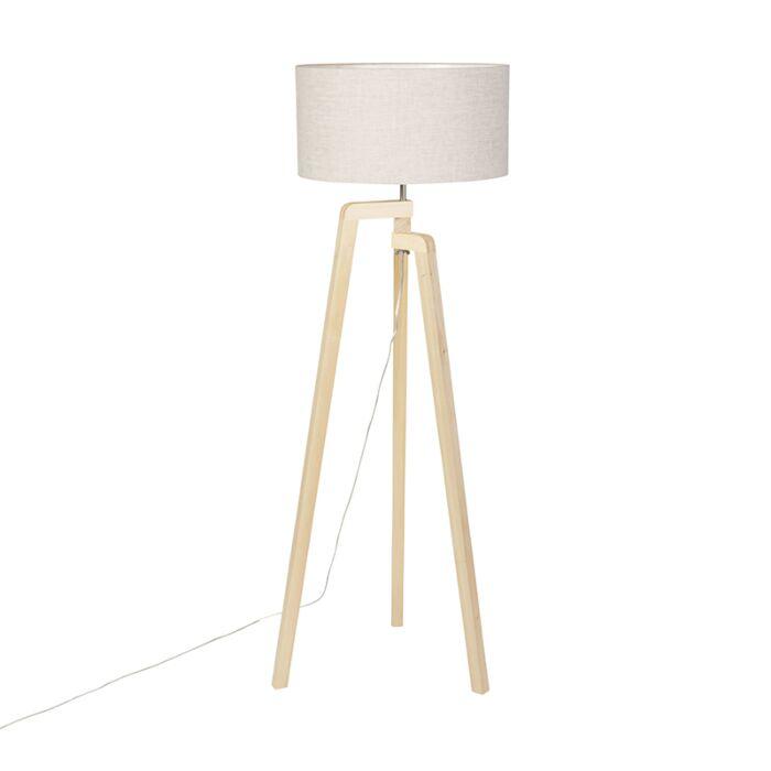 Vloerlamp-tripod-hout-met-peper-kap-50-cm---Puros