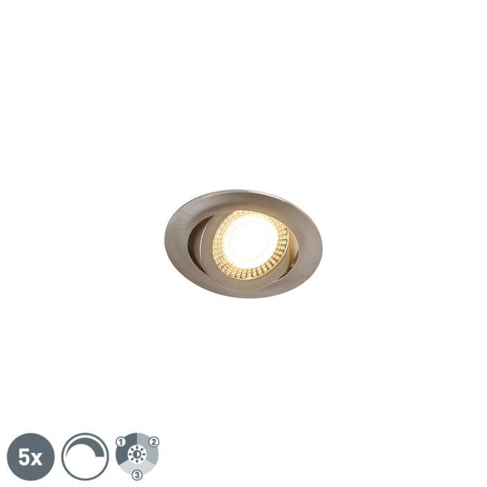 Set-van-5-moderne-inbouwspots-staal-incl.-LED-3-staps-dimbaar---Mio