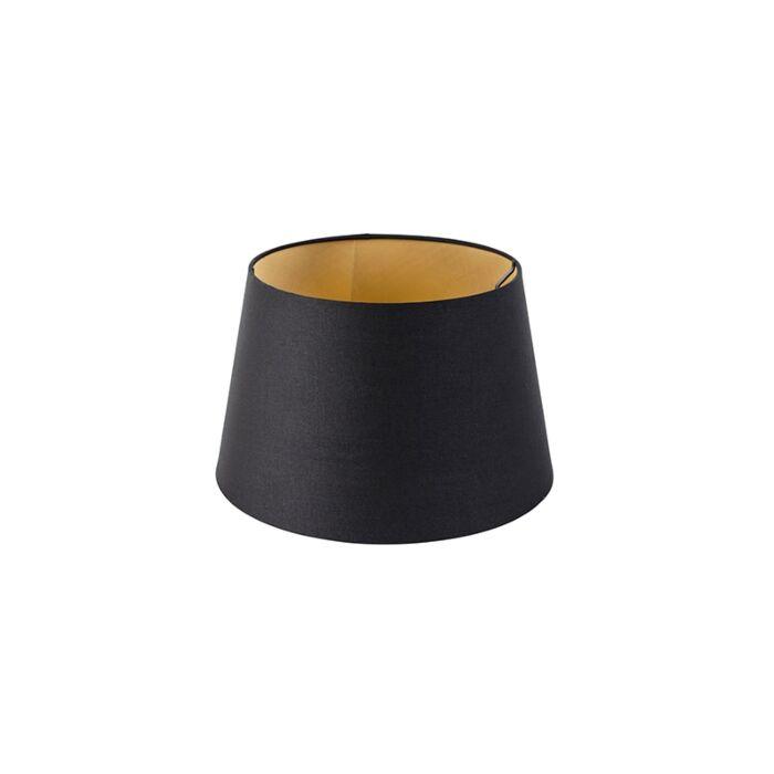 Katoenen-lampenkap-zwart-32/25/18-met-gouden-binnenkant