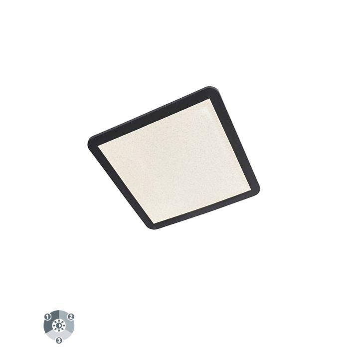 Plafondlamp-zwart-40-cm-incl.-LED-3-staps-dimbaar---Steve