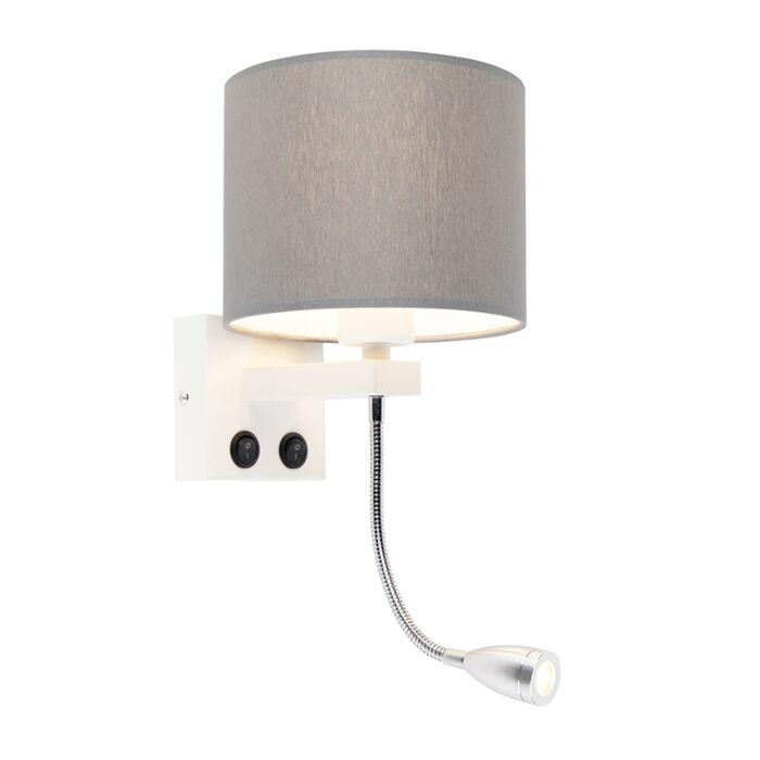 Moderne-wandlamp-wit-met-grijze-kap---Brescia