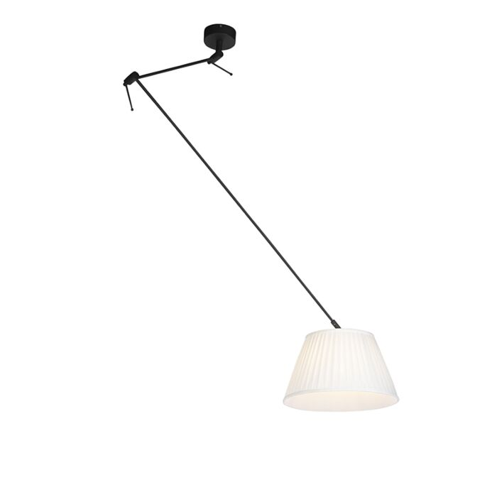 Hanglamp-met-plisse-kap-35cm-crème---Blitz-I-zwart