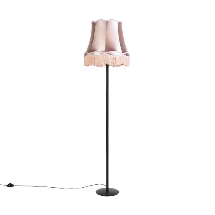 Retro-vloerlamp-zwart-met-Granny-kap-roze-45-cm---Simplo