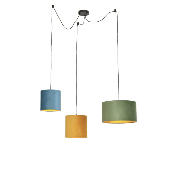 Hanglamp-met-velours-kappen-groen,-geel-en-blauw---Cava