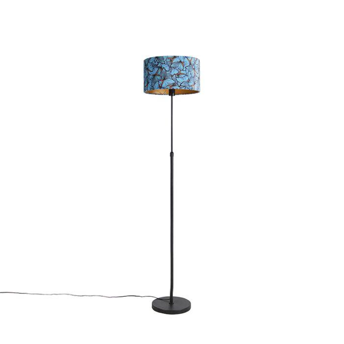 Vloerlamp-zwart-met-velours-kap-vlinders-35-cm---Parte