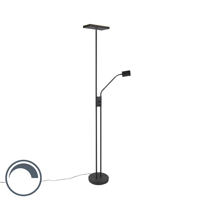 Moderne-vloerlamp-met-leeslamp-vierkant-zwart---Jazzy
