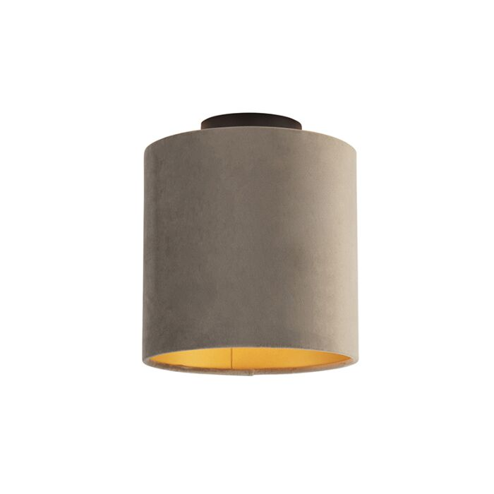 Plafondlamp-met-velours-kap-taupe-met-goud-20-cm---Combi-zwart