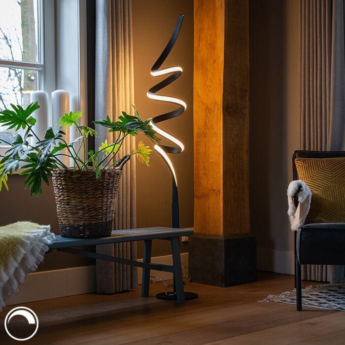 Design-vloerlamp-zwart-incl.-LED-en-dimmer---Twisted